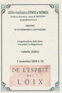 ISABELLA IASELLI – L'organizzazione dello Stato: i tre poteri. La Magistratura