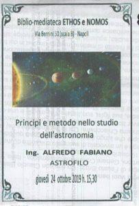 ALFREDO FABIANO – Principi e metodo nello studio dell'astronomia