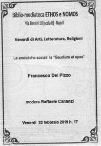 """FRANCESCO DEL PIZZO – Le encicliche sociali: la """"Gaudium et spes"""""""