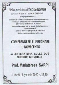 MARIA TERESA SARPI – La letteratura sulle due Guerre Mondiali