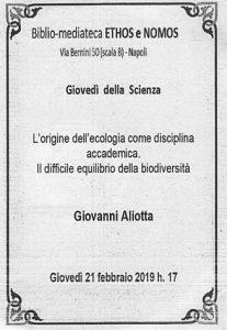 GIOVANNI ALIOTTA – L'origine dell'ecologia come disciplina accademica. Il difficile equilibrio della biodiversità