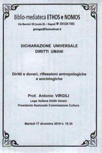 ANTONIO VIRGILI – La Dichiarazione Universale dei Diritti Umani: Diritti e doveri, riflessioni antropologiche e sociologiche