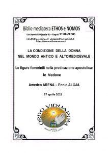 AMEDEO ARENA ed ENNIO ALOJA – Le figure femminili nella predicazione apostolica: le Vedove