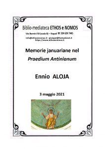 ENNIO ALOJA – Memoria januariane nel praedium Antinianum Il ramo della via Antiniana verso i siti monastici acropolitani
